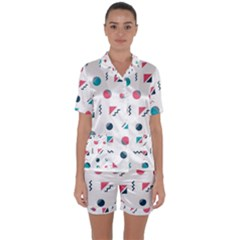 Round Triangle Geometric Pattern Satin Short Sleeve Pyjamas Set