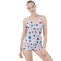 Round Triangle Geometric Pattern Boyleg Tankini Set