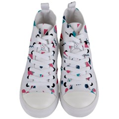Round Triangle Geometric Pattern Women s Mid Top Canvas Sneakers