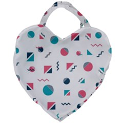 Round Triangle Geometric Pattern Giant Heart Shaped Tote