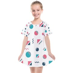 Round Triangle Geometric Pattern Kids  Smock Dress