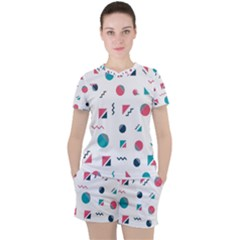 Round Triangle Geometric Pattern Women s Tee And Shorts Set