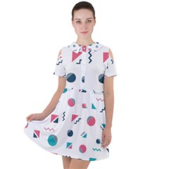 Round Triangle Geometric Pattern Short Sleeve Shoulder Cut Out Dress