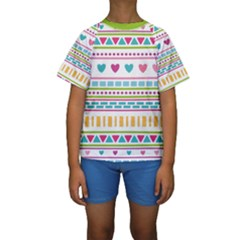Geometry Line Shape Pattern Kids  Short Sleeve Swimwear
