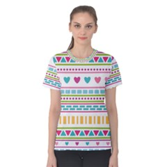 Geometry Line Shape Pattern Women s Cotton Tee