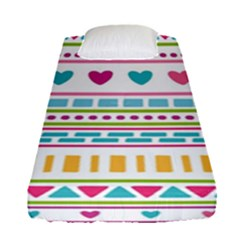 Geometry Line Shape Pattern Fitted Sheet (single Size)