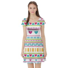Geometry Line Shape Pattern Short Sleeve Skater Dress