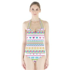 Geometry Line Shape Pattern Halter Swimsuit