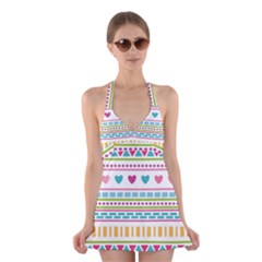 Geometry Line Shape Pattern Halter Dress Swimsuit
