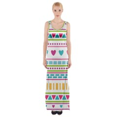 Geometry Line Shape Pattern Maxi Thigh Split Dress