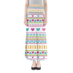 Geometry Line Shape Pattern Full Length Maxi Skirt