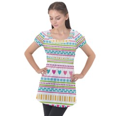 Geometry Line Shape Pattern Puff Sleeve Tunic Top