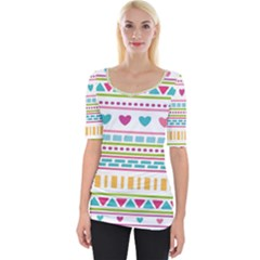 Geometry Line Shape Pattern Wide Neckline Tee