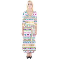 Geometry Line Shape Pattern Quarter Sleeve Wrap Maxi Dress