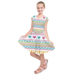 Geometry Line Shape Pattern Kids  Short Sleeve Dress