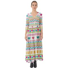 Geometry Line Shape Pattern Button Up Boho Maxi Dress