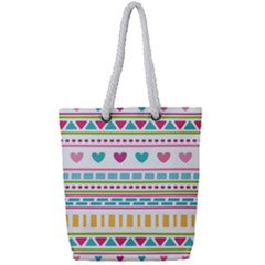 Geometry Line Shape Pattern Full Print Rope Handle Tote (small)