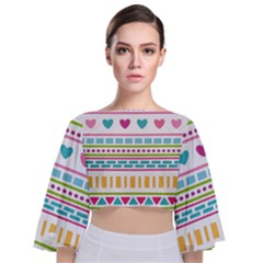 Geometry Line Shape Pattern Tie Back Butterfly Sleeve Chiffon Top