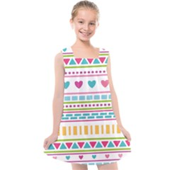 Geometry Line Shape Pattern Kids  Cross Back Dress
