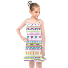 Geometry Line Shape Pattern Kids  Overall Dress