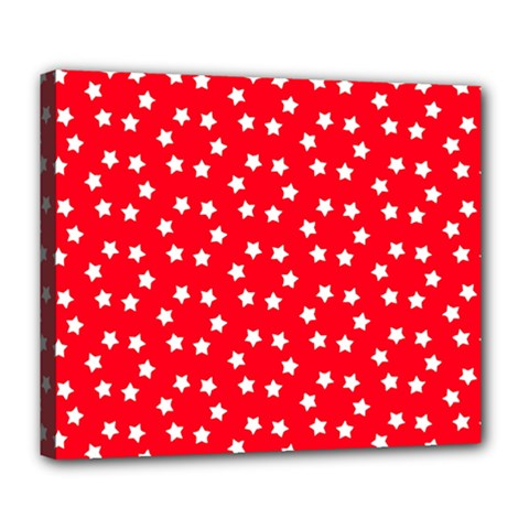 Christmas Pattern White Stars Red Deluxe Canvas 24  X 20  (stretched)