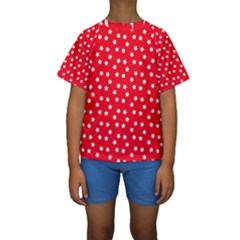 Christmas Pattern White Stars Red Kids  Short Sleeve Swimwear