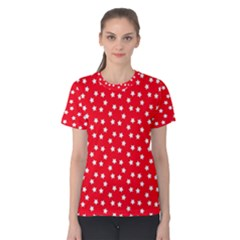 Christmas Pattern White Stars Red Women s Cotton Tee
