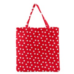 Christmas Pattern White Stars Red Grocery Tote Bag