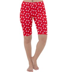 Christmas Pattern White Stars Red Cropped Leggings