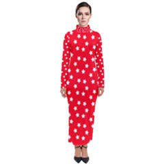 Christmas Pattern White Stars Red Turtleneck Maxi Dress