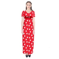Christmas Pattern White Stars Red Short Sleeve Maxi Dress