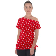 Christmas Pattern White Stars Red Tie Up Tee