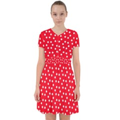 Christmas Pattern White Stars Red Adorable In Chiffon Dress by Mariart