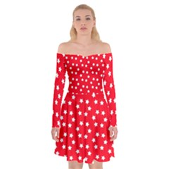 Christmas Pattern White Stars Red Off Shoulder Skater Dress