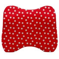 Christmas Pattern White Stars Red Velour Head Support Cushion by Mariart