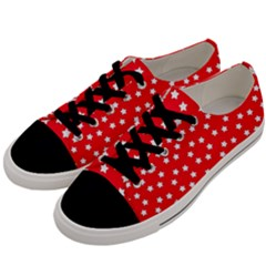Christmas Pattern White Stars Red Men s Low Top Canvas Sneakers by Mariart