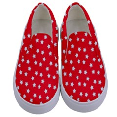 Christmas Pattern White Stars Red Kids  Canvas Slip Ons