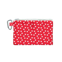 Christmas Pattern White Stars Red Canvas Cosmetic Bag (small)