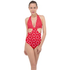 Christmas Pattern White Stars Red Halter Front Plunge Swimsuit
