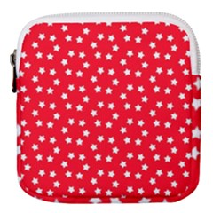 Christmas Pattern White Stars Red Mini Square Pouch