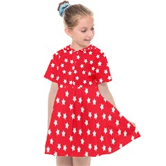 Christmas Pattern White Stars Red Kids  Sailor Dress by Mariart