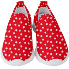 Christmas Pattern White Stars Red Kids  Slip On Sneakers by Mariart