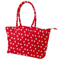 Christmas Pattern White Stars Red Canvas Shoulder Bag by Mariart