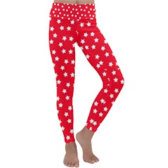 Christmas Pattern White Stars Red Kids  Lightweight Velour Classic Yoga Leggings by Mariart