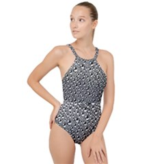 Water Bubble Photo High Neck One Piece Swimsuit