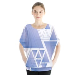 Triangle Geometry Batwing Chiffon Blouse