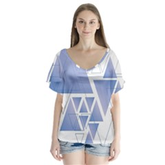 Triangle Geometry V Neck Flutter Sleeve Top