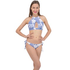 Triangle Geometry Cross Front Halter Bikini Set