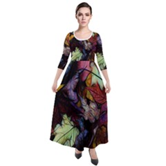 Fall Leaves Abstract Quarter Sleeve Maxi Velour Dress