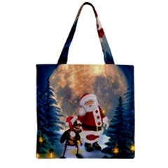 Merry Christmas, Santa Claus With Funny Cockroach In The Night Zipper Grocery Tote Bag